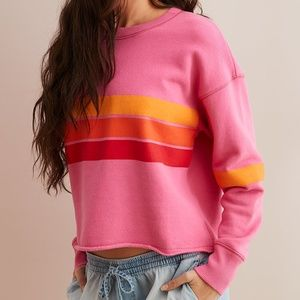 Aerie Striped Pullover Sweatshirt Pink Surf